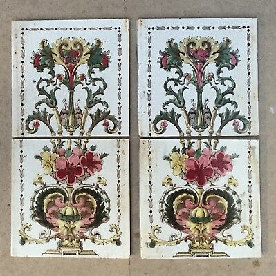 Set Of 4 Antique Floral Victorian Fireplace Tiles