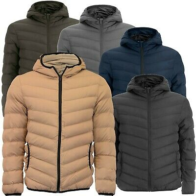 Mens Bubble Coat Hooded Quilted Plain Padded Puffer Jacket By  Brave Soul