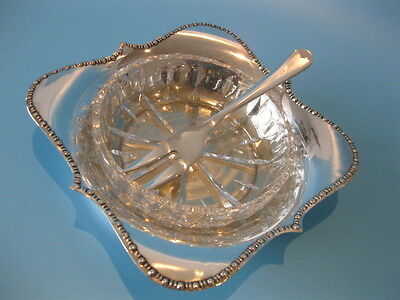 Lovely Little Vintage Silver Plate & Cut Crystal Condiment Dish / Chutney Dish