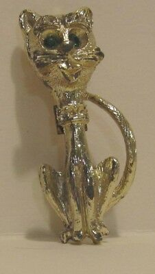 Vintage Gold-Tone Metal Sitting Cat Pin with Green Gemstone Eyes