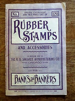 1920 Rubber Stamps Pads Banks Bankers Catalog R D Swisher Company Chicago IL