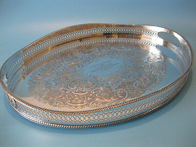 Stunning Georgian Style Silver Plated Oval Scalloped Gallery Serving Butler Tray