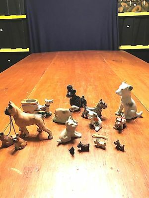 Lot of 16 Vi9ntage Bisque,Porcelain,Metal,Wood Dog Figurines Charms Etc.