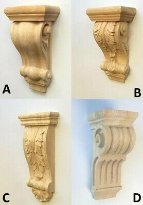 2 X Corbels Wooden Corbel Wood Timber Carved Corner Supports Raw