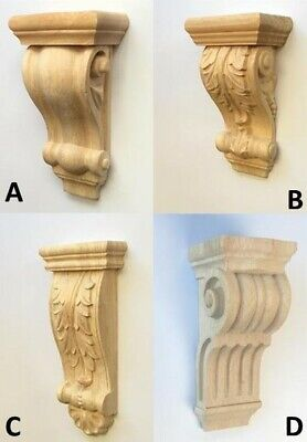 2 X Wooden Corbels Wood Timber Carved Corner Supports Raw