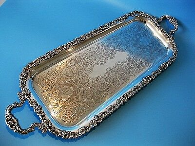 Stunning Ornate Antique Silver Plated Rectangular Engraved Footed Serving Tray