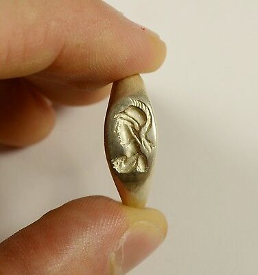 Greek/roman Style Silver Finger Ring With Image Of Athena With Helmet - Wearable