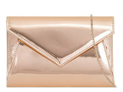 Champagne Patent Elegant Fashion Style Ladies Evening Party Clutch Bags Z850
