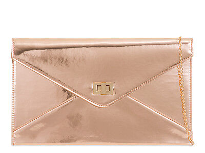 Rose Gold Patent Envelope Fashion Style Ladies Evening Party Clutch Bags L2042