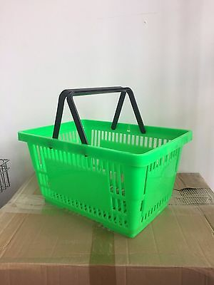 New 18L Handle Green Plastic Shopping Trolley Basket Retail Shop Supermarket Use