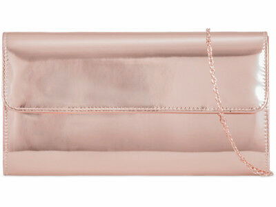 Rose Gold Patent Envelope Fashion Style Ladies Evening Party Clutch Bags Z648