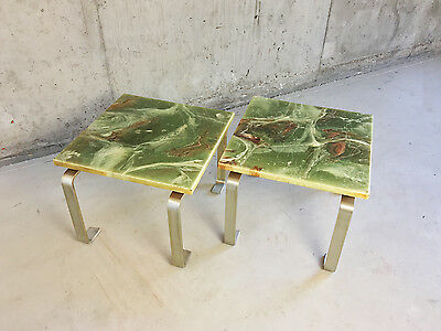 Pair of 1970's green onyx marble effect end tables