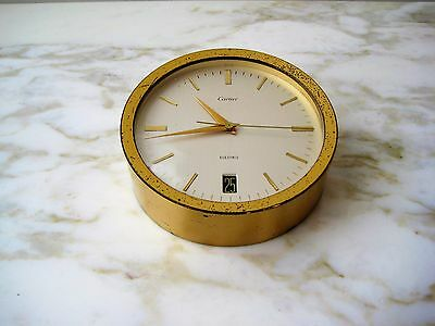 Vintage Cartier Gold Plated Table Desk Electric Clock w/ Date