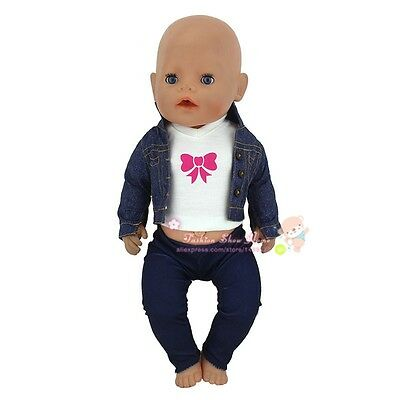 Set=vest+coat+pants Doll Clothes Wearfor 43cm Baby Born zapf (only sell clothes)
