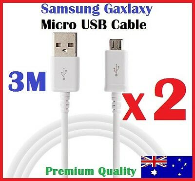 1M 3M Micro USB Charger Cable Data Cord for Samsung Galaxy S7 S6 S5 S4 S3 White