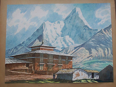 C. Somuel Vintage  20Thc Watercolour Of Buddhist Temple Himalayas