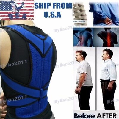 Adjustable Back Shoulder Corrector Support Brace Belt Posture Therapy Lumbar