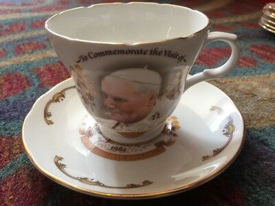 Royal Sutherland Cup and Saucer Pope John Paul 1982 Commemorative