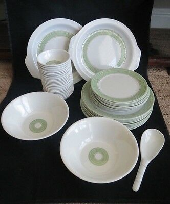 New Ware Melamine Dinnerware Set Green Circle 52 pc Set Bowls Plates Platter
