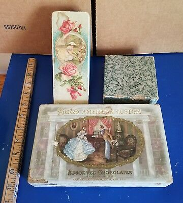 Lot of 3 VINTAGE GALES AMERICAN CUSTOM CANDY BOX Flowers Empty Victorian
