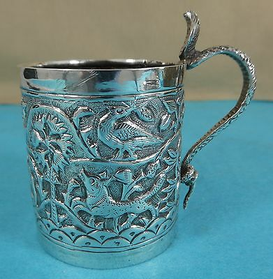 Superb Indian Sterling Silver Mug Elephant Deer Birds Dog Snake Handle Ca 1890