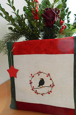 Kissen Vogel  Fremme acufactum  Point de Croix Advent Weihnachten Shabby