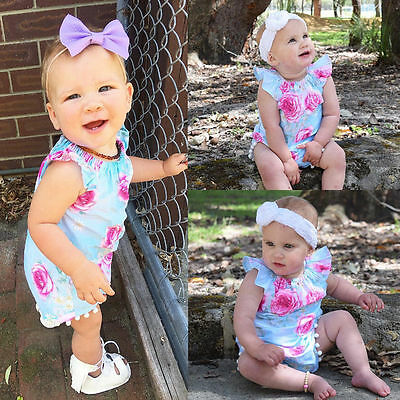 Newborn Baby Infant Girl Floral Romper Jumpsuit Bodysuit Outfits Sunsuit Clothes