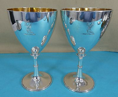 Beautiful Georgian Sterling Silver Wine Cups Goblets Bird Crest John King Ca1780
