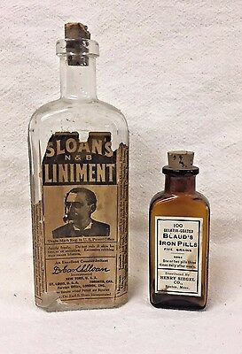 Great Pair of Medical Bottles With Labels - Blaud's Iron Pills
