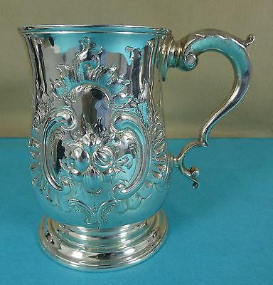Georgian Sterling Silver Pint Tankard Mug Chased Leaves Flowers Joseph Lock 1776