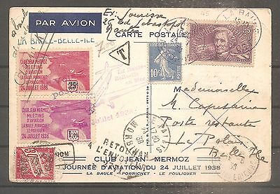 Postcard France Frankreich Meeting Aerien La Baule 1938 Oblitere Used