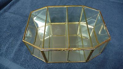 Vintage Brass Glass Table Top Wall Curio Cabinet Display Case Mirrored