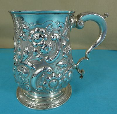 Georgian Sterling Silver Pint Tankard Mug Chased Leaf Flower Thomas Wallis 1770