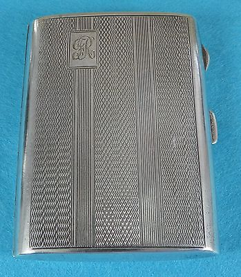 Art Deco Sterling Silver Cigarette Case Fine Engine Turned John Thompson 1931