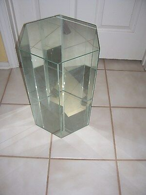 "Vintage Glass Curio Display Case Hexagon w/glass top lid 18"" tall Doll Case"
