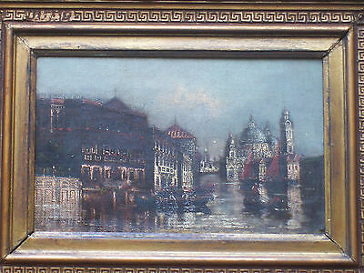 ANTIQUE 19th CENTURY OIL PAINTING ON CANVAS CANAL IN VENICE INDISTINCTLY SIGNED