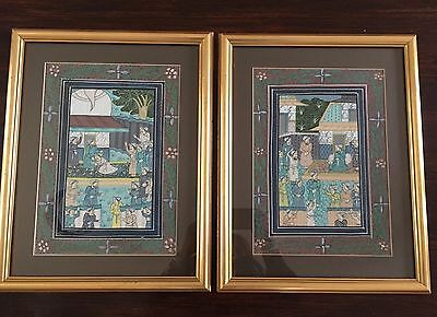 Vintage Persian Indian Islamic Mughal Style Painting On Silk Asian Eastern Art