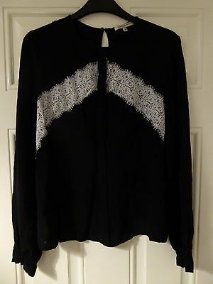 Black blouse from M&S with white lace size 10
