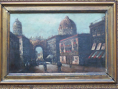 ANTIQUE 19th CENTURY OIL PAINTING ON CANVAS FLORENCE ITALY SANTA MARIA DEL FIORE