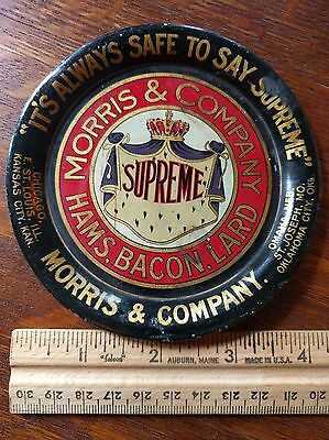"Old Antique Advertising Tip Tray Morris & Co. ""Always Safe to Say Supreme"" USA"