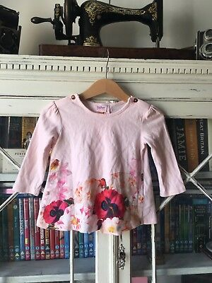 Ted Baker Baby Girls Pink Floral Long Sleeved Top 6-9 Months Cute Bow Detailing