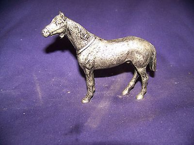 """Pewter Model Metal Horse 4 1/2"""" tall 5"""" long, Standing"""