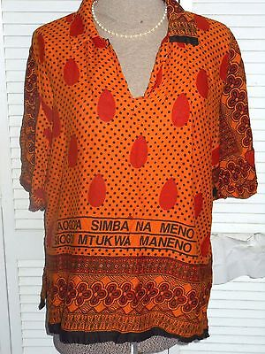 PLUS SIZE 2X~TRIBAL ETHNIC BATIK STYLE TUNIC/BLOUSE~Red+Black+Orange~V-Neck~SS