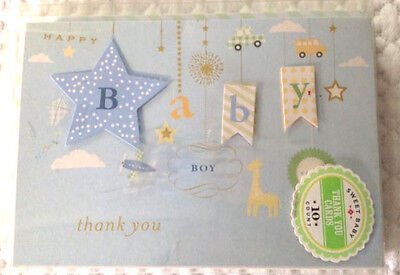 Baby Boy Shower Thank You Notes 10 Pack