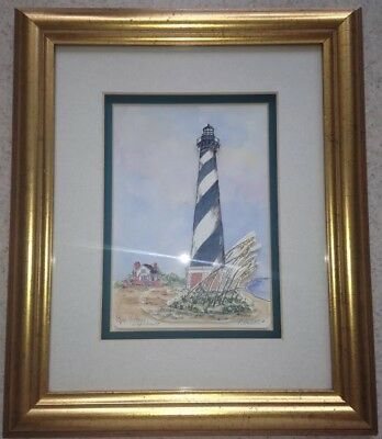 Patsy Gullett Cape Hatteras Lighthouse Sculptured Watercolor 3-D Print Hand-Done
