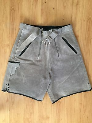 1970s vintage gray suede high waisted motorcycle shorts x/small festival