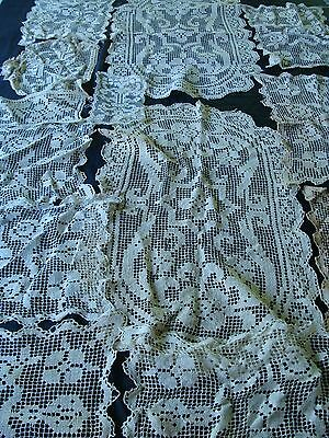 Lot of 15 Antique ~ Vintage Lace Runners  FOR CRAFTS