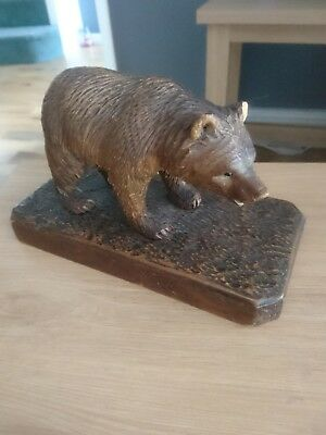 Antique  Black Forest Hand Carved Wooden Bear.