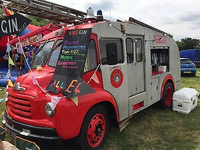Vintage Fire Engine Converted to Sell Coffee and Gin.