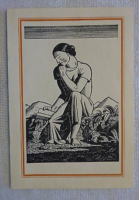 Vintage Rockwell Kent Bookplate Thinking Reading Woman NOS Lot of 1